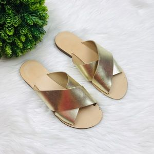 [Topshop] Gold Leather Cross strap Sandals
